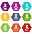studio microphone icons set 9 vector image vector image