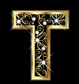 T gold letter with swirly ornaments vector image vector image