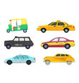 taxi cars in different cities transport for fast vector image vector image