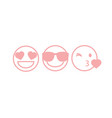 three pink contour smileys vector image