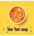 Tom yum kung - thai spicy soup Top view vector image vector image