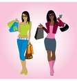 Two shopping girls vector image vector image