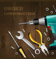 under construction wooden background vector image vector image