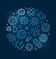 viruses and pathogens blue concept outline vector image
