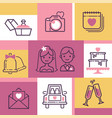wedding icons banner vector image vector image