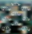 white outline various body types cars icons set vector image
