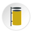 Yellow litter waste bin icon circle