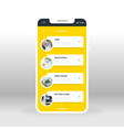 yellow online music list ui ux gui screen for vector image vector image