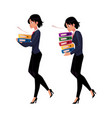 young businesswoman carrying document folders vector image vector image