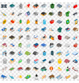 100 city element icons set isometric 3d style vector image vector image