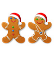 a set christmas gingerbread man in a santa hat vector image vector image