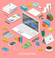 accounting flat isometric concept vector image