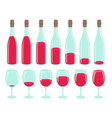 bottle drinking process different amount of vector image vector image