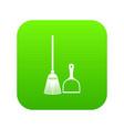 broom and dustpan icon digital green vector image vector image