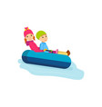 brother and sister rolling on sled-cheesecakes vector image vector image
