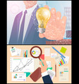business idea and analyzing process set vector image