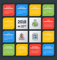 calendar for 2018 year colorful design template vector image vector image
