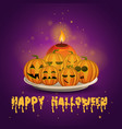card with halloween pumpkins and candle vector image vector image