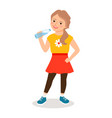 cartoon little girl drinking clean water vector image