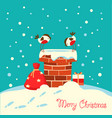 christmas card with bullfinch birds sitting on vector image