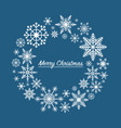 christmas card wreath made from snowflakes vector image