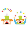circus icon set clown juggler face head looking vector image