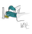 close-up hands of chemist working with equipment vector image vector image