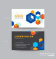 colorful business card design with isometric cube vector image vector image