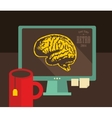 Computer with digital brains on the screen vector image