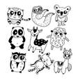 cute doodle icon set vector image vector image