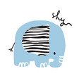 cute girly hand drawn portrait of an elephant vector image