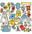 doodles colour stickers vector image vector image