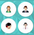flat icon telemarketing set of hotline secretary vector image vector image