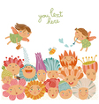 Floral background with cute fairies vector image