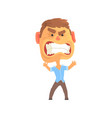 furious man with aggressive facial expressions vector image vector image