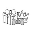 gift box with crown and bow tie black and white vector image vector image