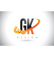gk g k letter logo with fire flames design and vector image vector image