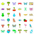 green planet icons set cartoon style vector image vector image