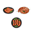 grilled sausages on stick and in frying pan vector image vector image