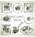 Hand drawn sketch restaurant food set European vector image vector image