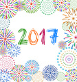 Happy New Year 2017 with fireworks background vector image vector image