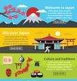 japan landscape banner horizontal set flat style vector image vector image