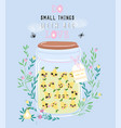 jar of pear jam with cute kawaii berries vector image