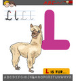 letter l with cartoon llama vector image vector image