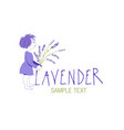 little girl with lavender bouquet logo design vector image vector image