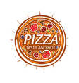 logo of a sketched pizza on vector image