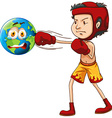 Man punching the earth vector image