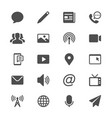 media and communication glyph icons vector image