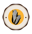 monochrome circular frame with corn vegetable vector image