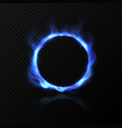 realistic blue fire circle ring blue fire vector image vector image